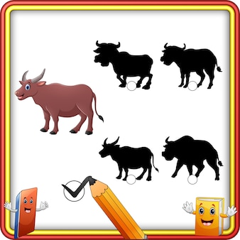 Schattenanpassung der büffelkarikatur