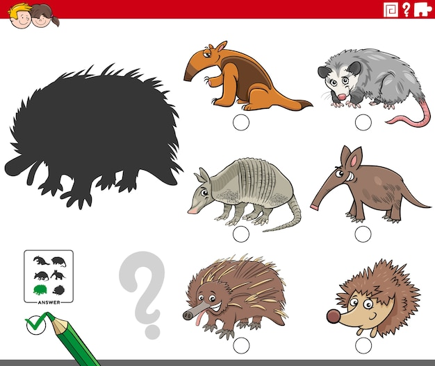 Schattenaufgabe mit cartoon-wildtierfiguren