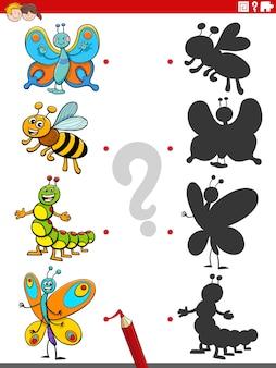 Schattenaufgabe mit comic-insektenfiguren