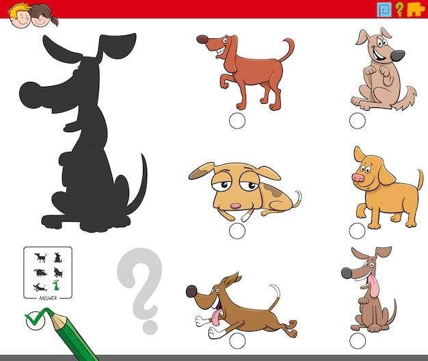 Schattenaufgabe mit hunde- und welpencharakteren