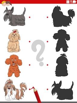 Schattenaufgabe mit lustigem comic reinrassigen hund