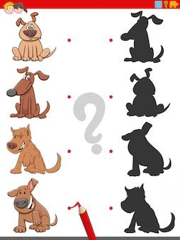 Schattenaufgabe mit lustigen hundecharakteren