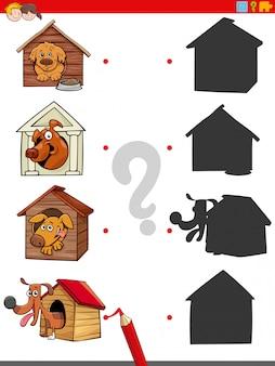 Schattenaufgabe mit lustigen hunden in hundehütten