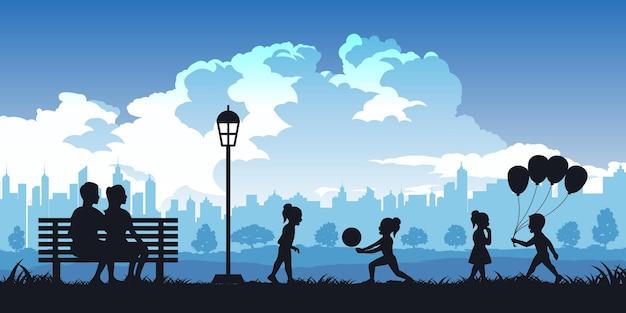 Schattenbild der aktivitäten der leute in der parkfamilienillustration