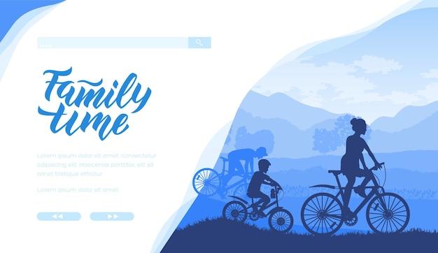 Schattenbild der familie, die fahrrad zusammen in den blauen farben reitet. vater, mutter, sohn verbringen zeit.