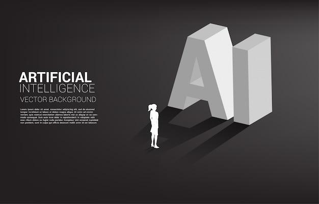 Schattenbild der geschäftsfrau, die mit ki-text 3d steht. geschäftskonzept für maschinelles lernen und künstliche intelligenz