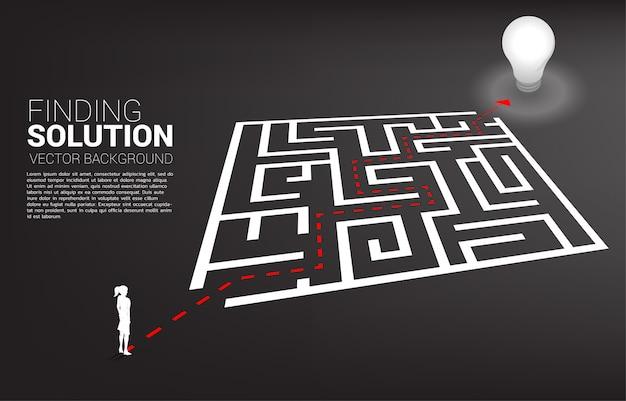 Schattenbild der geschäftsfrau mit dem wegweg, zum des labyrinths zur glühlampe zu beenden. geschäftskonzept für das lösen von problemen und das finden der idee.