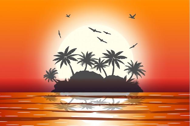 Schattenbild der palme am strand.