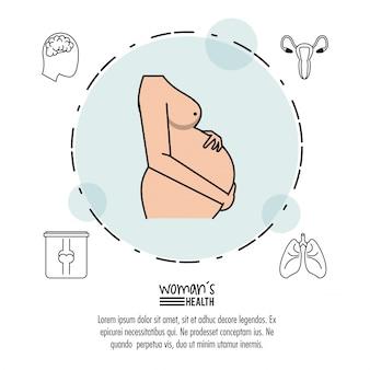 Schattenbild der schwangeren frau im kreis mit ikonen herum