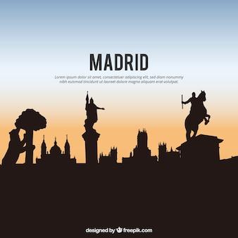 Schattenbild der skyline von madrid