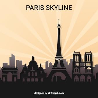 Schattenbild der skyline von paris