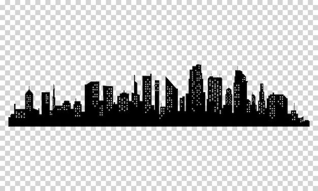 Schattenbild der stadt mit schwarzer farbe