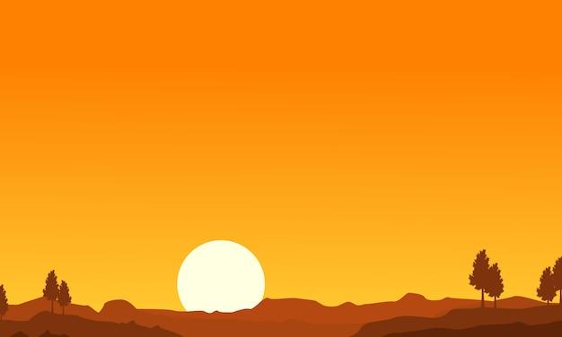 Schattenbild der wüsten- und baumlandschaft