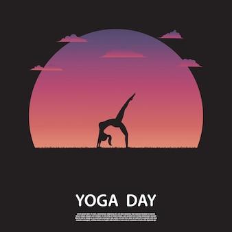 Schattenbild der yogafrau auf natur