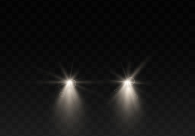 Schattenbild des autos mit scheinwerfern auf schwarzem hintergrund.