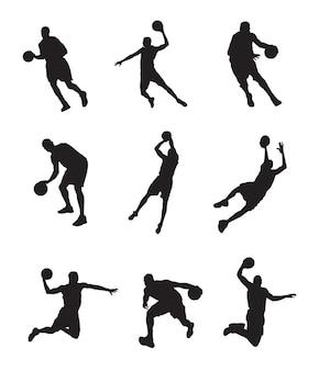 Schattenbild des basketballspielers