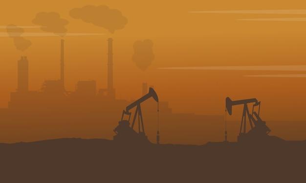 Schattenbild des baus mit verschmutzungsindustrie