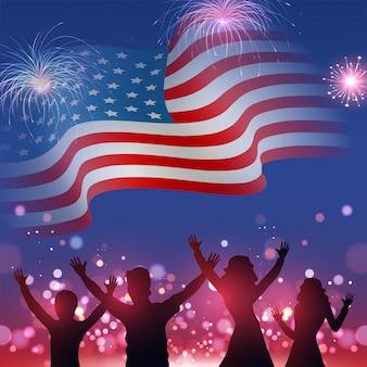 Schattenbild des charakters der leute, der auf gewellter amerikanischer flagge genießt