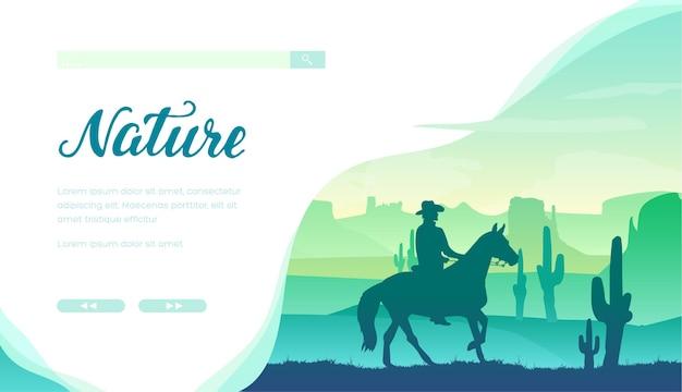 Schattenbild des cowboys, der ein pferd gegen grüne landschaft mit großen kakteen, felsen reitet.