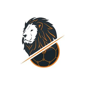 Schattenbild des fußballs und des löwekopfes - logo template