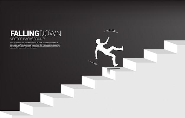 Schattenbild des geschäftsmannbeleges auf treppe.