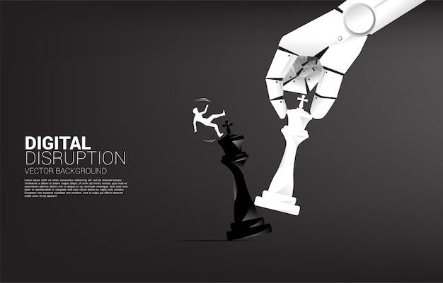 Schattenbild des geschäftsmannbeleges und herunterfallen von der roboterhand bewegen schachfigur, um könig zu schachmattieren.