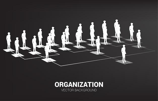 Schattenbild des geschäftsmannes, der auf organigramm steht. geschäftskonzept der unternehmensstruktur und teamhierarchie