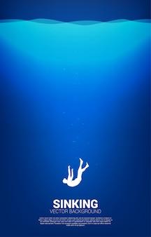 Schattenbild des geschäftsmannes, der im wasser sinkt. konzept für ausfall und versehentliches geschäft