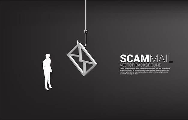 Schattenbild des geschäftsmannes, der mit angelhaken mit e-mail-symbol steht. konzept von betrugspost und phishing.