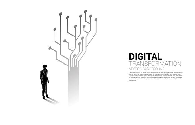 Schattenbild des geschäftsmannes, der mit baum von der punktverbindungsleitungsschaltung steht. banner der digitalen transformation des geschäfts.