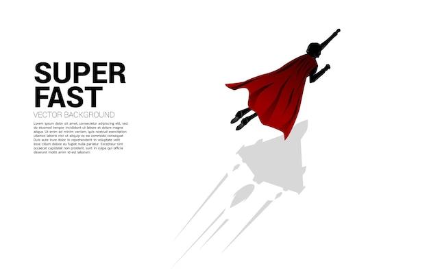 Schattenbild des geschäftsmannes, der mit kampfflugzeugschatten fliegt. geschäftskonzept für start-up und schnell wachsendes unternehmen.