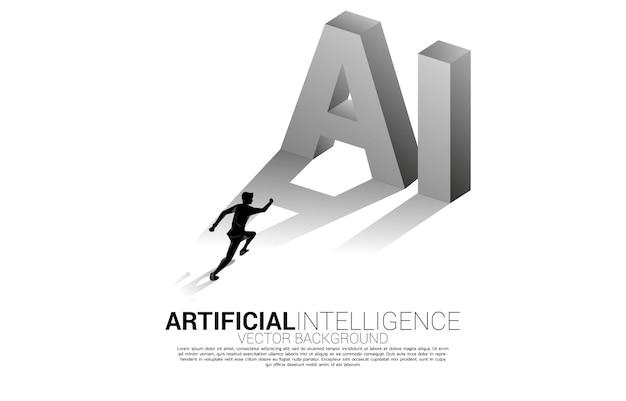 Schattenbild des geschäftsmannes, der mit ki-text 3d steht. geschäftskonzept für maschinelles lernen und künstliche intelligenz