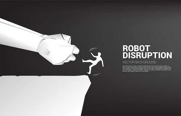 Schattenbild des geschäftsmannes, der von der roboterhand von der klippe herunterfällt. konzept für eine krise aufgrund von betriebsstörungen