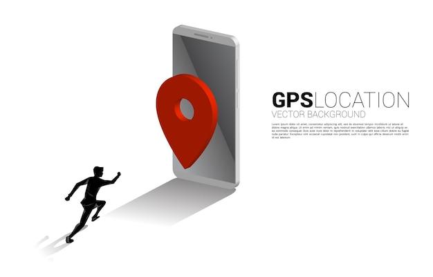 Schattenbild des geschäftsmannes, der zum 3d-gps-stiftmarker und zum mobiltelefon läuft. illustration von standort und ort der einrichtung, gps-technologie
