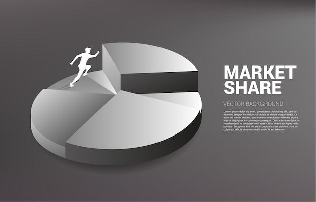 Schattenbild des geschäftsmannes, der zur spitze des kreisdiagramms läuft. konzept des wachstumsgeschäfts, erfolg im karriereweg.