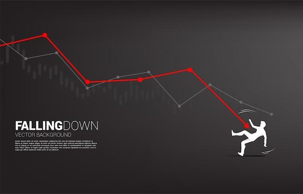 Schattenbild des geschäftsmannes fallend unten vom abschwungdiagramm.
