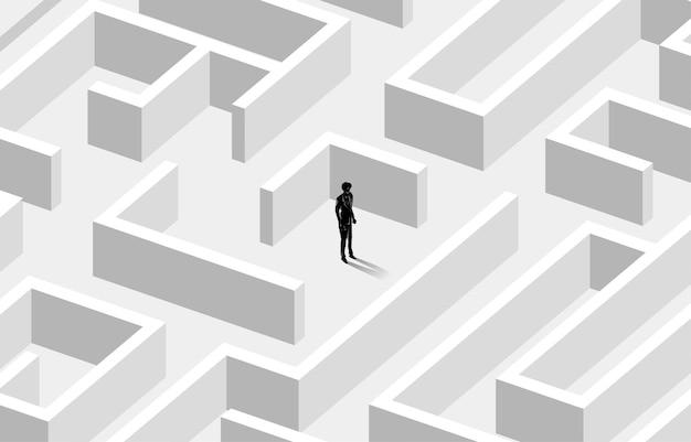 Schattenbild des geschäftsmannes in der mitte des labyrinths.