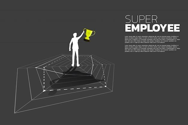 Schattenbild des geschäftsmannes mit der trophäe, die auf spinnendiagramm mit superheldschatten steht. konzept des besten mitarbeiter- und personalmanagements.