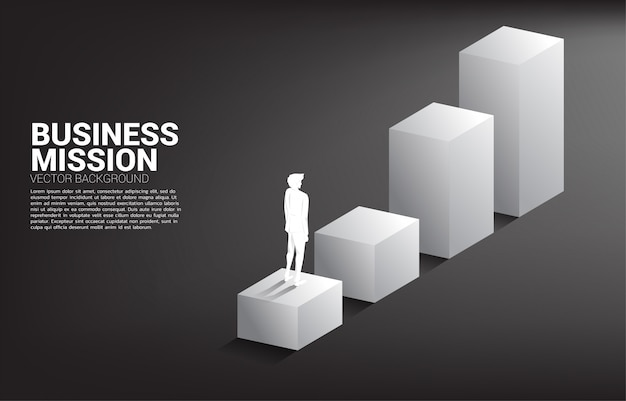 Schattenbild des geschäftsmannes stehend auf balkendiagramm. konzept der menschen bereit, das niveau der karriere und des geschäfts zu erhöhen.