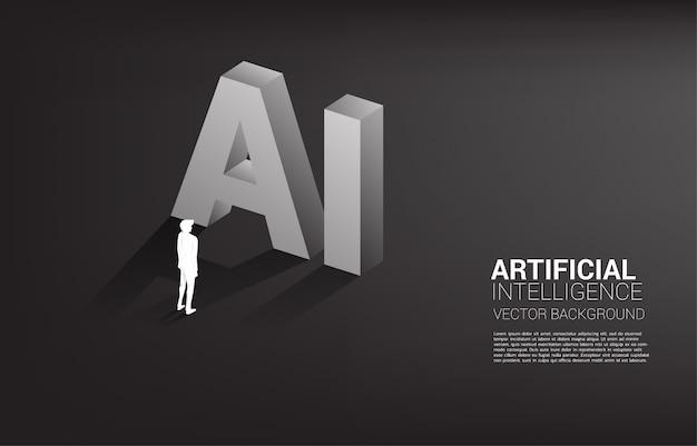 Schattenbild des geschäftsmannes stehend mit ai-text 3d. geschäft maschinelles lernen und ai künstliche intelligenz