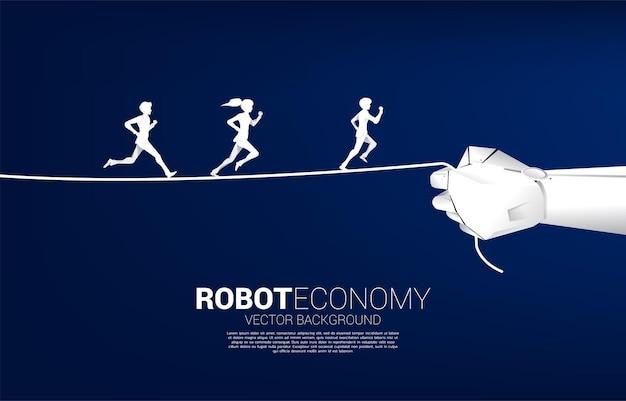 Schattenbild des geschäftsmannes und der geschäftsfrau, die am seil in der roboterhand laufen. konzept der business-herausforderung und roboterökonomie.
