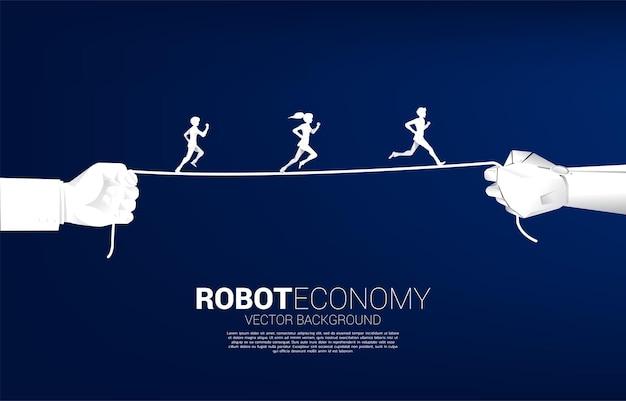 Schattenbild des geschäftsmannes und der geschäftsfrau, die auf seil im roboter und in der menschlichen hand laufen. konzept der business-herausforderung und roboterökonomie.