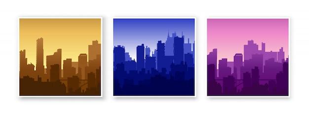 Schattenbild des im stadtzentrum gelegenen stadtlandschaftsillustrationssatzes der stadtstruktur