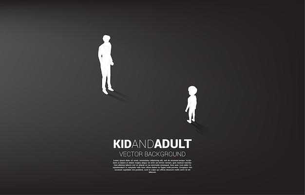 Schattenbild des jungen, der mit der erwachsenen illustration steht