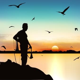 Schattenbild des mannes wartend, um die fische in der dämmerung zu fangen.