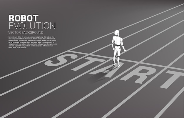Schattenbild des roboters, der an der startlinie steht.