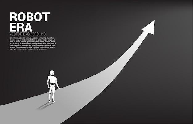 Schattenbild des roboters, der auf pfeilroute steht.