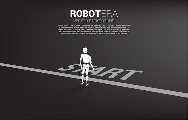 Schattenbild des roboters, der auf startlinie steht. konzept der künstlichen intelligenz und der technologie des maschinellen lernens