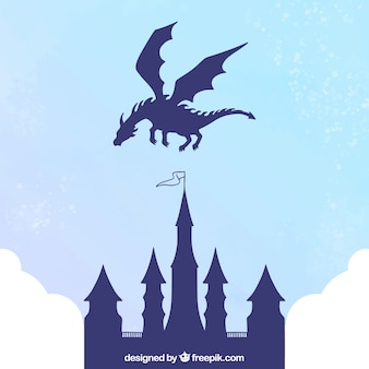 Schattenbild des schlosses und des fliegenden drachen