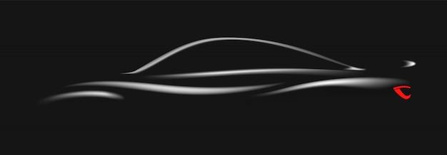 Schattenbild des schwarzen sportwagens auf schwarzem hintergrund.